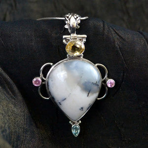 Dendritic Agate & 3 types of Topaz Silver Pendant